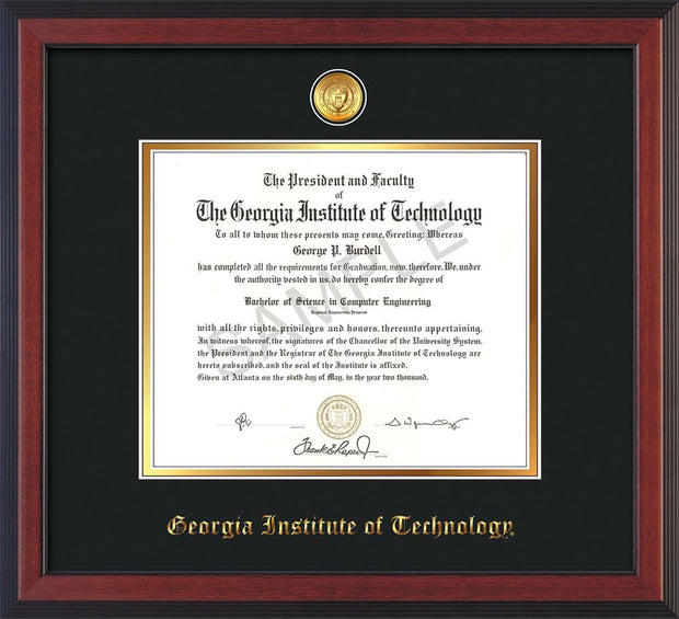 Image of Georgia Tech Diploma Frame - Cherry Reverse - w/24k Gold-plated Medallion - Black on Gold mat
