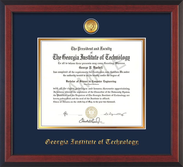 Image of Georgia Tech Diploma Frame - Cherry Reverse - w/24k Gold-plated Medallion - Navy on Gold mat