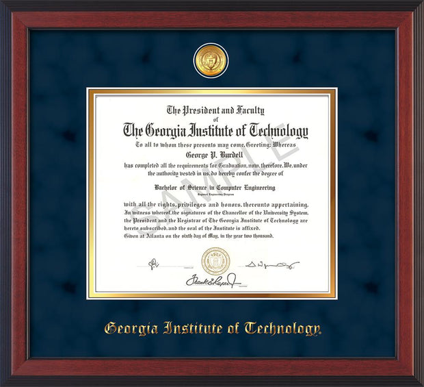 Image of Georgia Tech Diploma Frame - Cherry Reverse - w/24k Gold-plated Medallion - Navy Suede on Gold mat