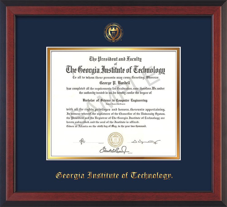 Image of Georgia Tech Diploma Frame - Cherry Reverse - w/Embossed Seal & Name - Navy on Gold mat