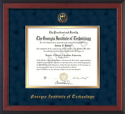 Image of Georgia Tech Diploma Frame - Cherry Reverse - w/Embossed Seal & Name - Navy Suede on Gold mat