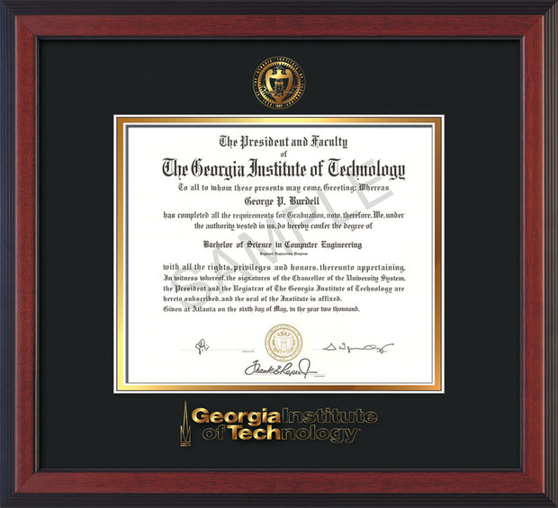 Image of Georgia Tech Diploma Frame - Cherry Reverse - w/Embossed Seal & Wordmark - Black on Gold Mat