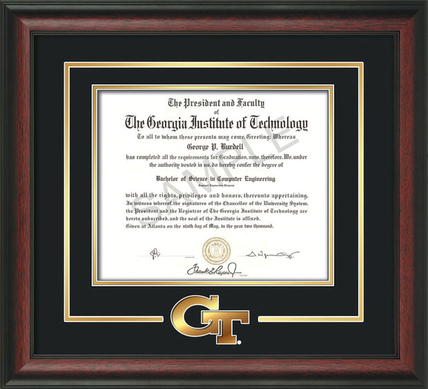 Image of Georgia Tech Diploma Frame - Rosewood - w/3-D Laser GT Logo Cutout - Black on Gold mat