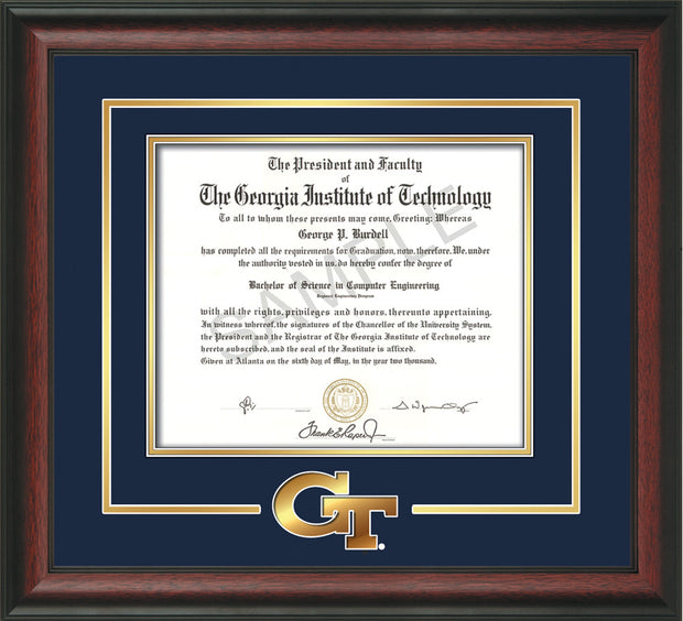 Image of Georgia Tech Diploma Frame - Rosewood- w/3-D Laser GT Logo Cutout - Navy on Gold mat