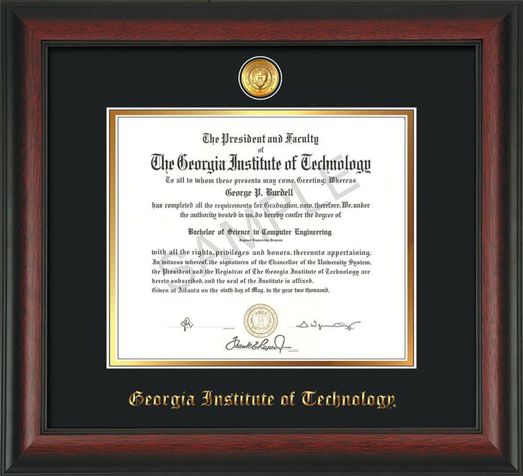 Image of Georgia Tech Diploma Frame - Rosewood - w/24k Gold-plated Medallion - Black on Gold mat