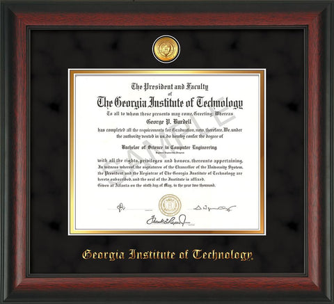 Image of Georgia Tech Diploma Frame - Rosewood - w/24k Gold-plated Medallion - Black Suede on Gold mat