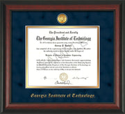 Image of Georgia Tech Diploma Frame - Rosewood - w/24k Gold-plated Medallion - Navy Suede on Gold mat