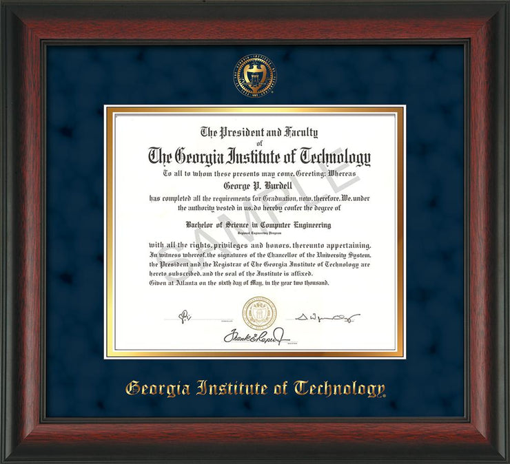 Image of Georgia Tech Diploma Frame - Rosewood - w/Embossed Seal & Name - Navy Suede on Gold mat