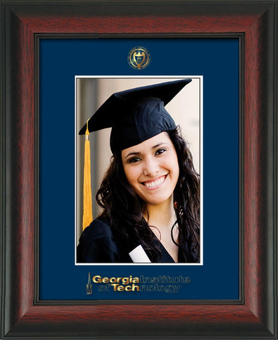 Image of Georgia Tech 5 x 7 Photo Frame - Rosewood - w/Official Embossing of GT Seal & Wordmark - Single Navy mat