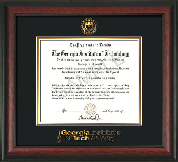 Image of Georgia Tech Diploma Frame - Rosewood - w/Embossed Seal & Wordmark - Black on Gold Mat