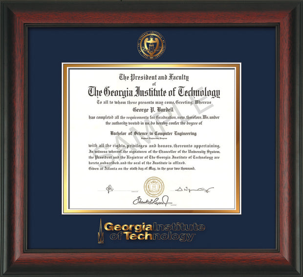Image of Georgia Tech Diploma Frame - Rosewood - w/Embossed Seal & Wordmark - Navy on Gold Mat
