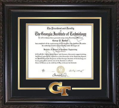 Image of Georgia Tech Diploma Frame - Vintage Black Scoop - w/3-D Laser GT Logo Cutout - Black on Gold mat
