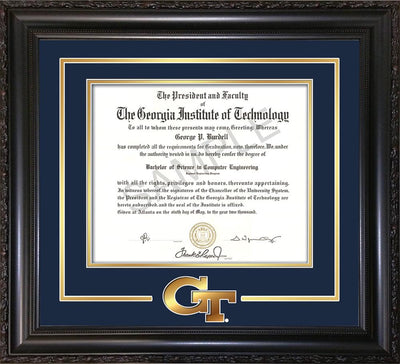 Image of Georgia Tech Diploma Frame - Vintage Black Scoop - w/3-D Laser GT Logo Cutout - Navy on Gold mat
