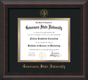 Image of Governor's State University Diploma Frame - Mahogany Braid - w/Embossed GSU Seal & Name - Black on Gold mat