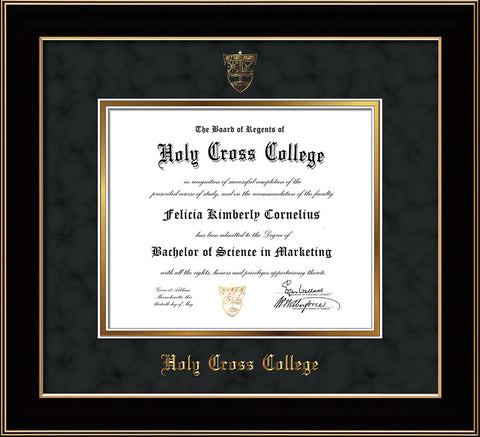 Image of Holy Cross College Diploma Frame - Black Lacquer - w/Embossed HCC Seal & Name - Black Suede on Gold mat