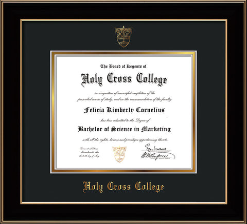 Image of Holy Cross College Diploma Frame - Black Lacquer - w/Embossed HCC Seal & Name - Black on Gold mat