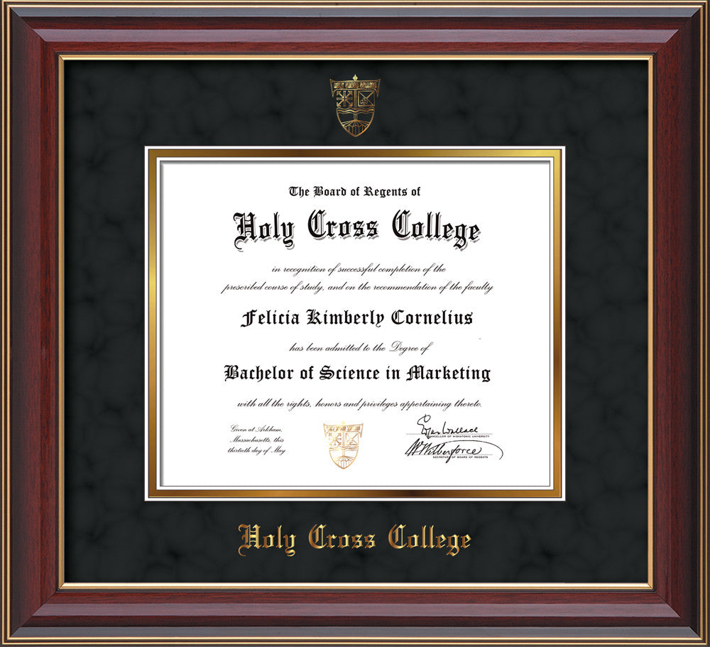 Holy Cross College Diploma Frame-Cherry Lacquer-HCC Seal-Black Suede ...