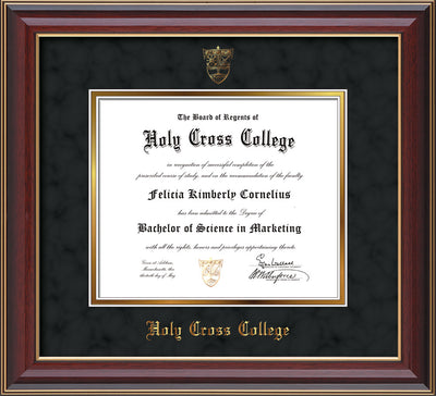 Image of Holy Cross College Diploma Frame - Cherry Lacquer - w/Embossed HCC Seal & Name - Black Suede on Gold mat