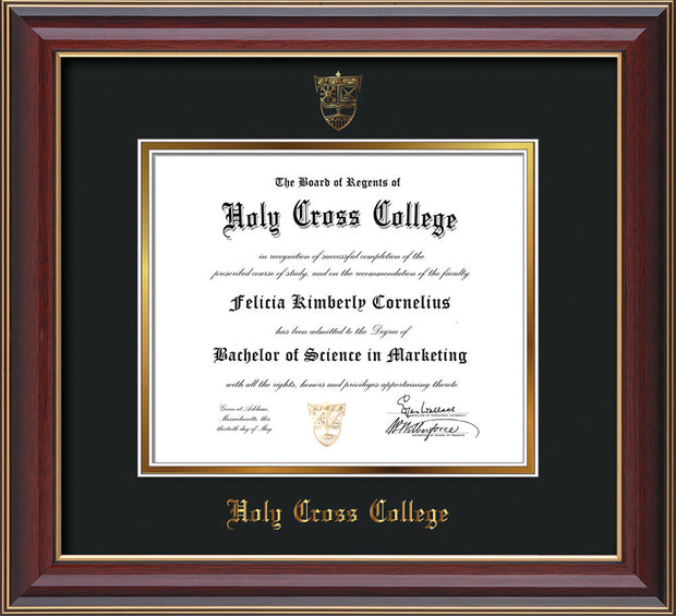 Image of Holy Cross College Diploma Frame - Cherry Lacquer - w/Embossed HCC Seal & Name - Black on Gold mat