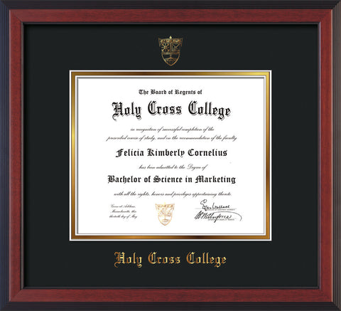 Image of Holy Cross College Diploma Frame - Cherry Reverse - w/Embossed HCC Seal & Name - Black on Gold mat
