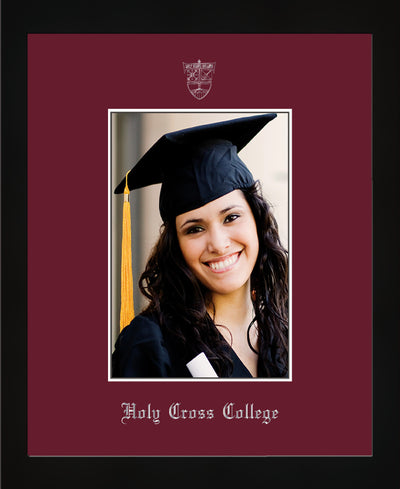 Image of Holy Cross College 5 x 7 Photo Frame - Flat Matte Black - w/Silver Official Embossing of HCC Seal & Name - Single Maroon mat