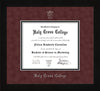 Image of Holy Cross College Diploma Frame - Flat Matte Black - w/Silver Embossed HCC Seal & Name - Maroon Suede on Black mat