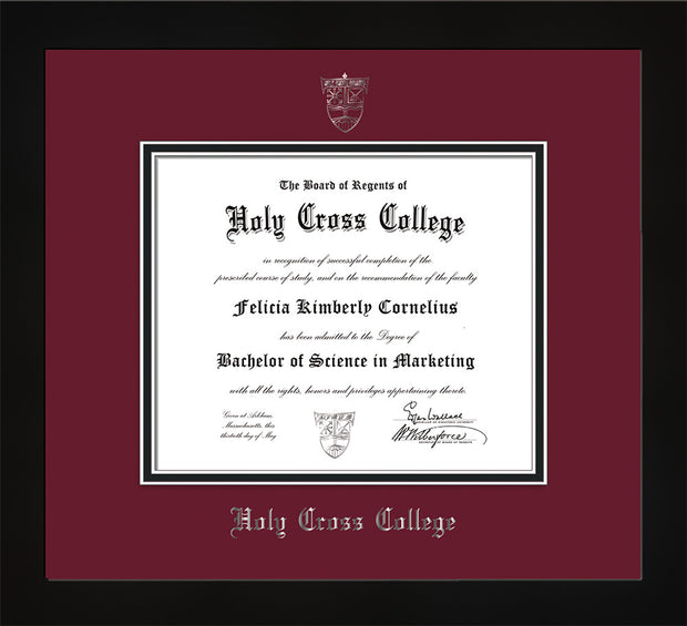Image of Holy Cross College Diploma Frame - Flat Matte Black - w/Silver Embossed HCC Seal & Name - Maroon on Black mat