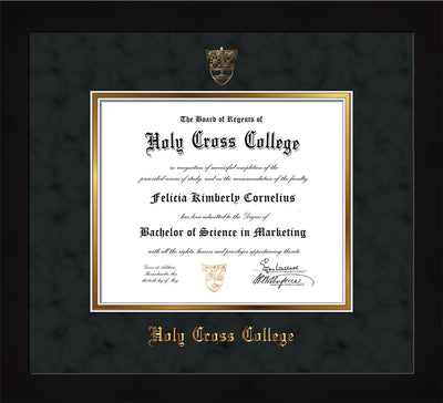 Image of Holy Cross College Diploma Frame - Flat Matte Black - w/Embossed HCC Seal & Name - Black Suede on Gold mat