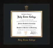 Image of Holy Cross College Diploma Frame - Flat Matte Black - w/Embossed HCC Seal & Name - Black on Gold mat