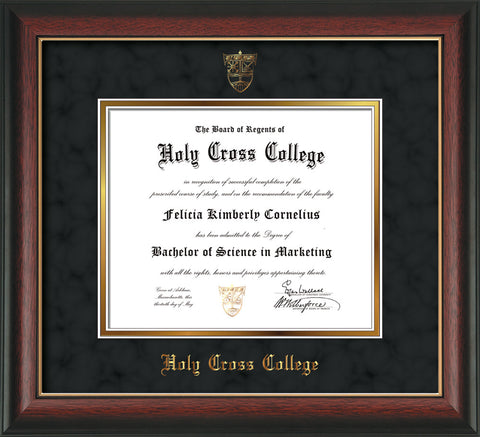Image of Holy Cross College Diploma Frame - Rosewood w/Gold Lip - w/Embossed HCC Seal & Name - Black Suede on Gold mat