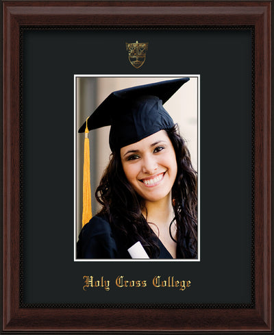 Image of Holy Cross College 5 x 7 Photo Frame - Mahogany Bead - w/Official Embossing of HCC Seal & Name - Single Black mat