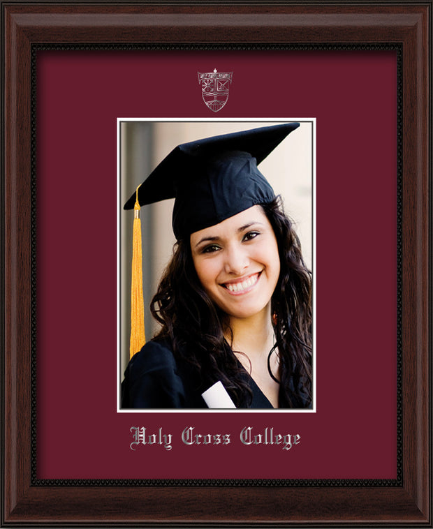 Image of Holy Cross College 5 x 7 Photo Frame - Mahogany Bead - w/Silver Official Embossing of HCC Seal & Name - Single Maroon mat