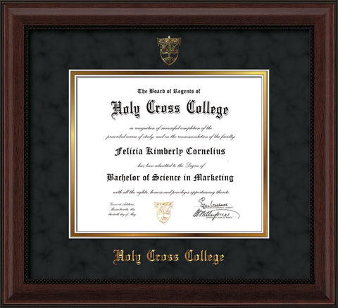 Image of Holy Cross College Diploma Frame - Mahogany Bead - w/Embossed HCC Seal & Name - Black Suede on Gold mat