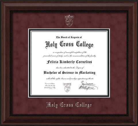 Image of Holy Cross College Diploma Frame - Mahogany Bead - w/Silver Embossed HCC Seal & Name - Maroon Suede on Black mat