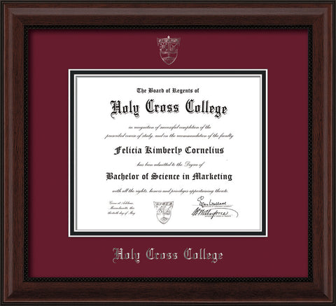 Image of Holy Cross College Diploma Frame - Mahogany Bead - w/Silver Embossed HCC Seal & Name - Maroon on Black mat