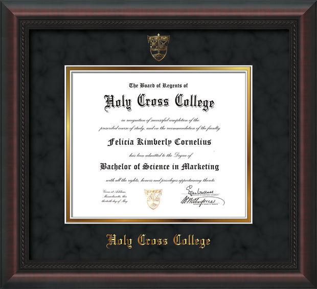 Image of Holy Cross College Diploma Frame - Mahogany Braid - w/Embossed HCC Seal & Name - Black Suede on Gold mat
