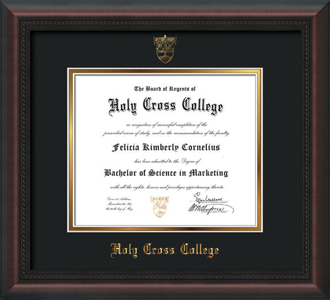 Image of Holy Cross College Diploma Frame - Mahogany Braid - w/Embossed HCC Seal & Name - Black on Gold mat