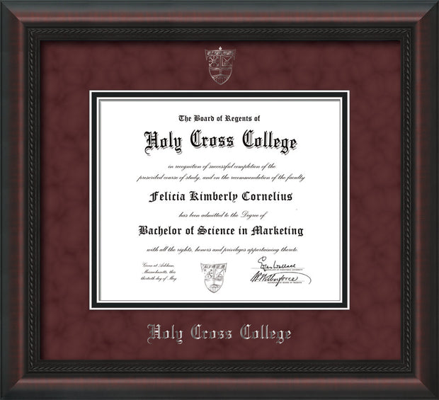 Image of Holy Cross College Diploma Frame - Mahogany Braid - w/Silver Embossed HCC Seal & Name - Maroon Suede on Black mat