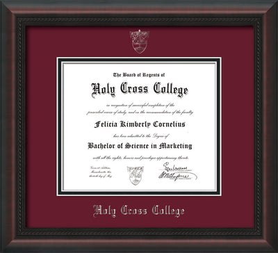 Image of Holy Cross College Diploma Frame - Mahogany Braid - w/Silver Embossed HCC Seal & Name - Maroon on Black mat