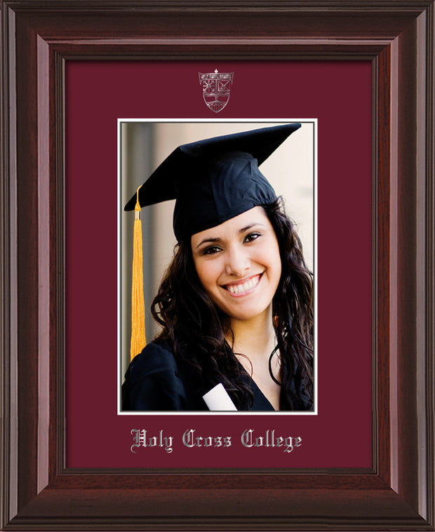 Image of Holy Cross College 5 x 7 Photo Frame - Mahogany Lacquer - w/Silver Official Embossing of HCC Seal & Name - Single Maroon mat