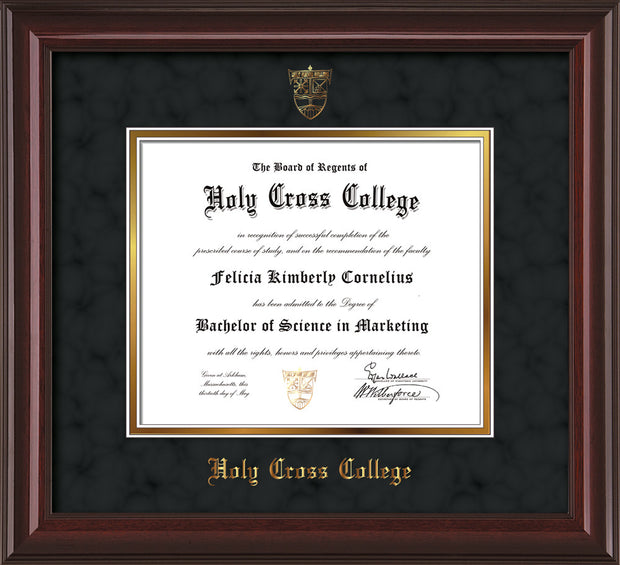 Image of Holy Cross College Diploma Frame - Mahogany Lacquer - w/Embossed HCC Seal & Name - Black Suede on Gold mat