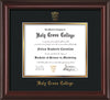 Image of Holy Cross College Diploma Frame - Mahogany Lacquer - w/Embossed HCC Seal & Name - Black on Gold mat
