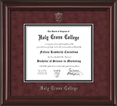 Image of Holy Cross College Diploma Frame - Mahogany Lacquer - w/Silver Embossed HCC Seal & Name - Maroon Suede on Black mat