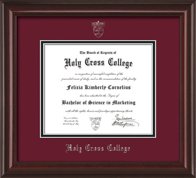 Image of Holy Cross College Diploma Frame - Mahogany Lacquer - w/Silver Embossed HCC Seal & Name - Maroon on Black mat