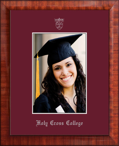 Image of Holy Cross College 5 x 7 Photo Frame - Mezzo Gloss - w/Silver Official Embossing of HCC Seal & Name - Single Maroon mat