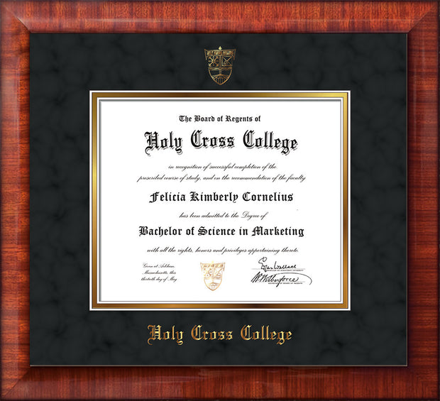 Image of Holy Cross College Diploma Frame - Mezzo Gloss - w/Embossed HCC Seal & Name - Black Suede on Gold mat