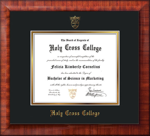 Image of Holy Cross College Diploma Frame - Mezzo Gloss - w/Embossed HCC Seal & Name - Black on Gold mat