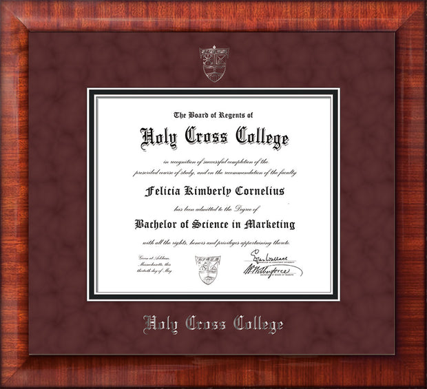 Image of Holy Cross College Diploma Frame - Mezzo Gloss - w/Silver Embossed HCC Seal & Name - Maroon Suede on Black mat