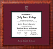 Image of Holy Cross College Diploma Frame - Mezzo Gloss - w/Silver Embossed HCC Seal & Name - Maroon on Black mat