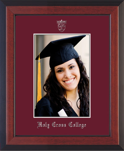 Image of Holy Cross College 5 x 7 Photo Frame - Cherry Reverse - w/Silver Official Embossing of HCC Seal & Name - Single Maroon mat